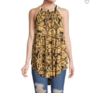 Free People Mimi printed halterneck tunic top
